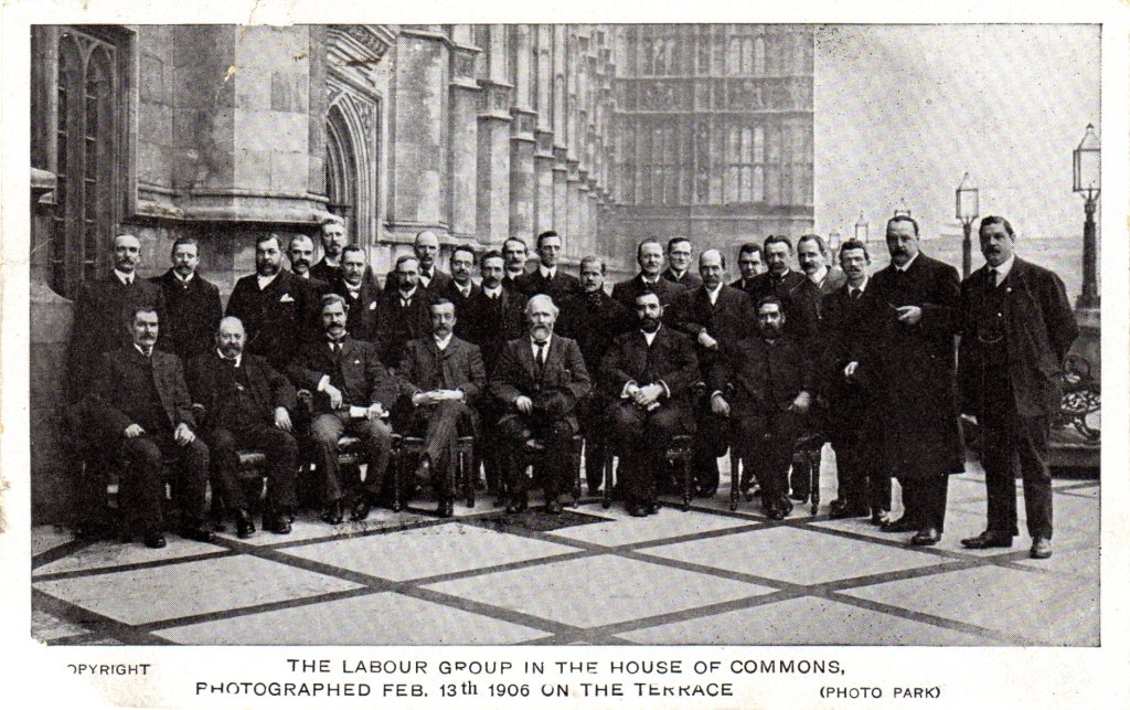 Photograph of Labour Group of MPs on the terrace of the House of Commons, February 1906