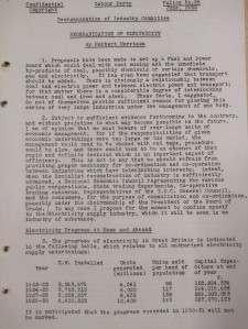 Front page of Herbert Morrison report on the reorganisation of the  electricity industry.