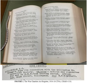 Page showing an extract from the War Charities Act register