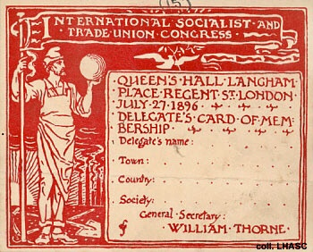 Socialist International delegate's card.