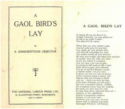 Front cover of pamphlet A Gaol Bird's Lay.