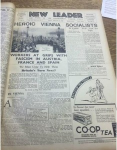 New Leader front page, February 16th 1934.