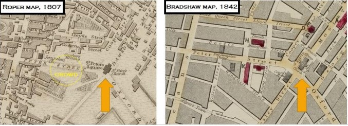 Maps showing the area of St Peter's Field in 1807 and 1842.