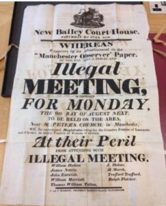 Handbill warning the public not to attend the 'illegal' meeting planned for August 9th.