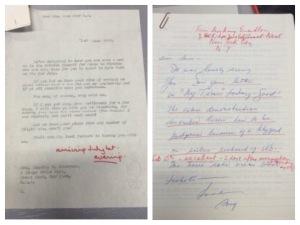 Images of Kerr's correspondence with WSP activist Amy Swerdlow