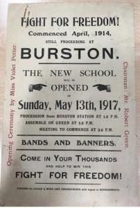 Handbill for the opening of the Burston Strike School.