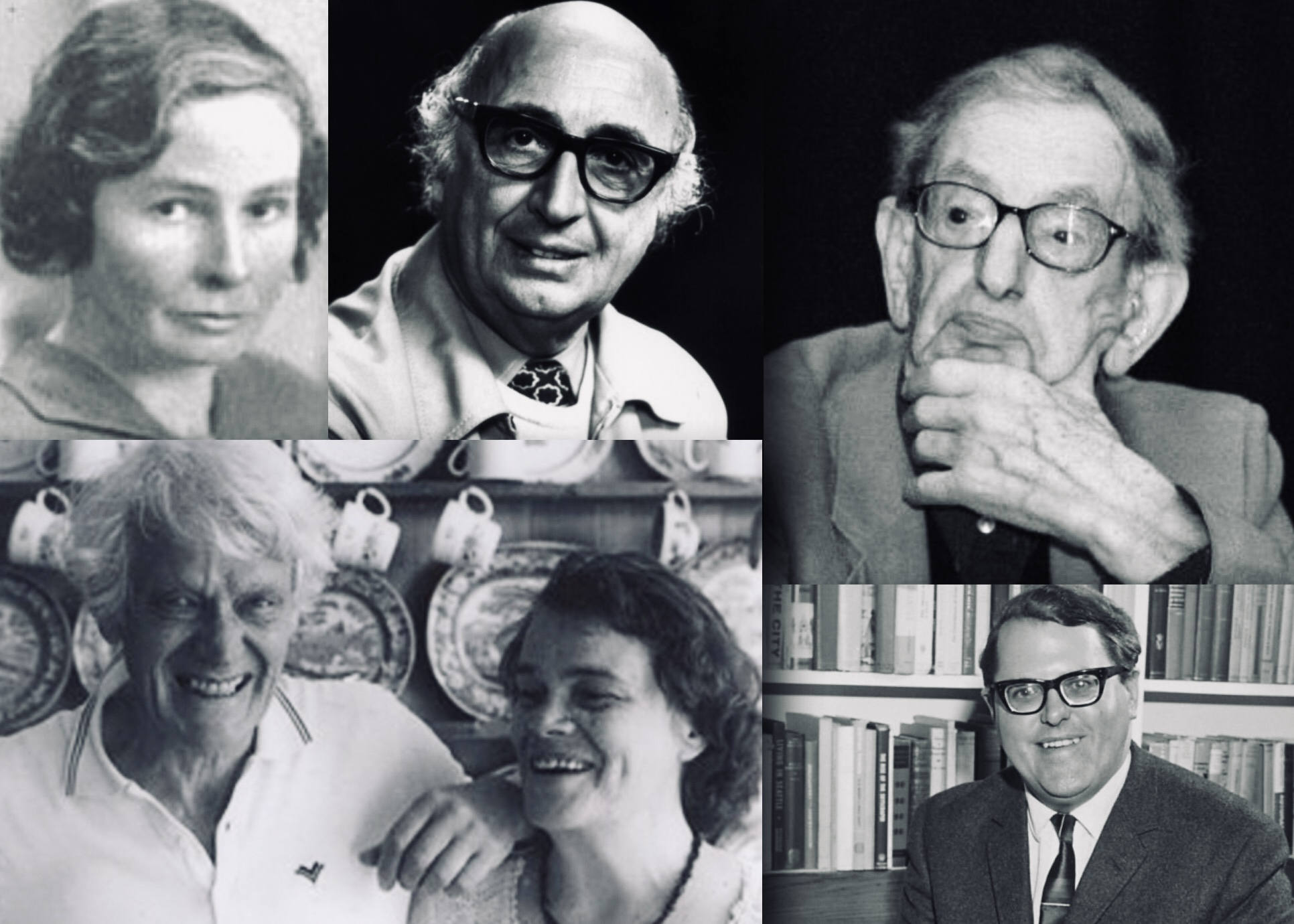 Collage of portrait photos showing well known early contributors to the SSLH Bulletin.