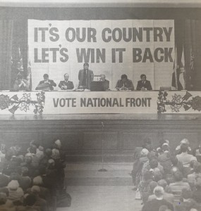 View of the platform speakers at a National Front conference