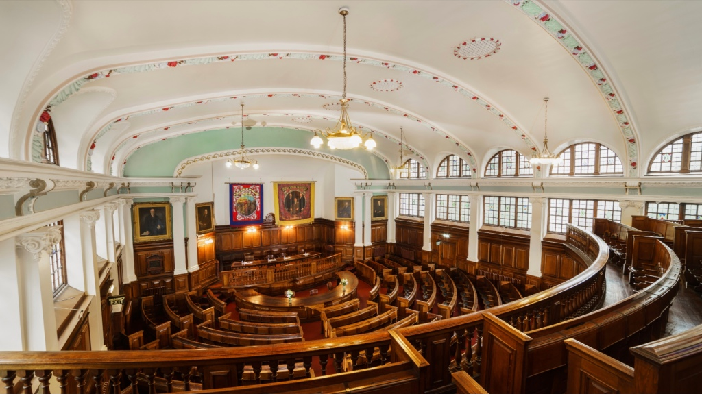 View of the debating chamber of the Miner's Hall