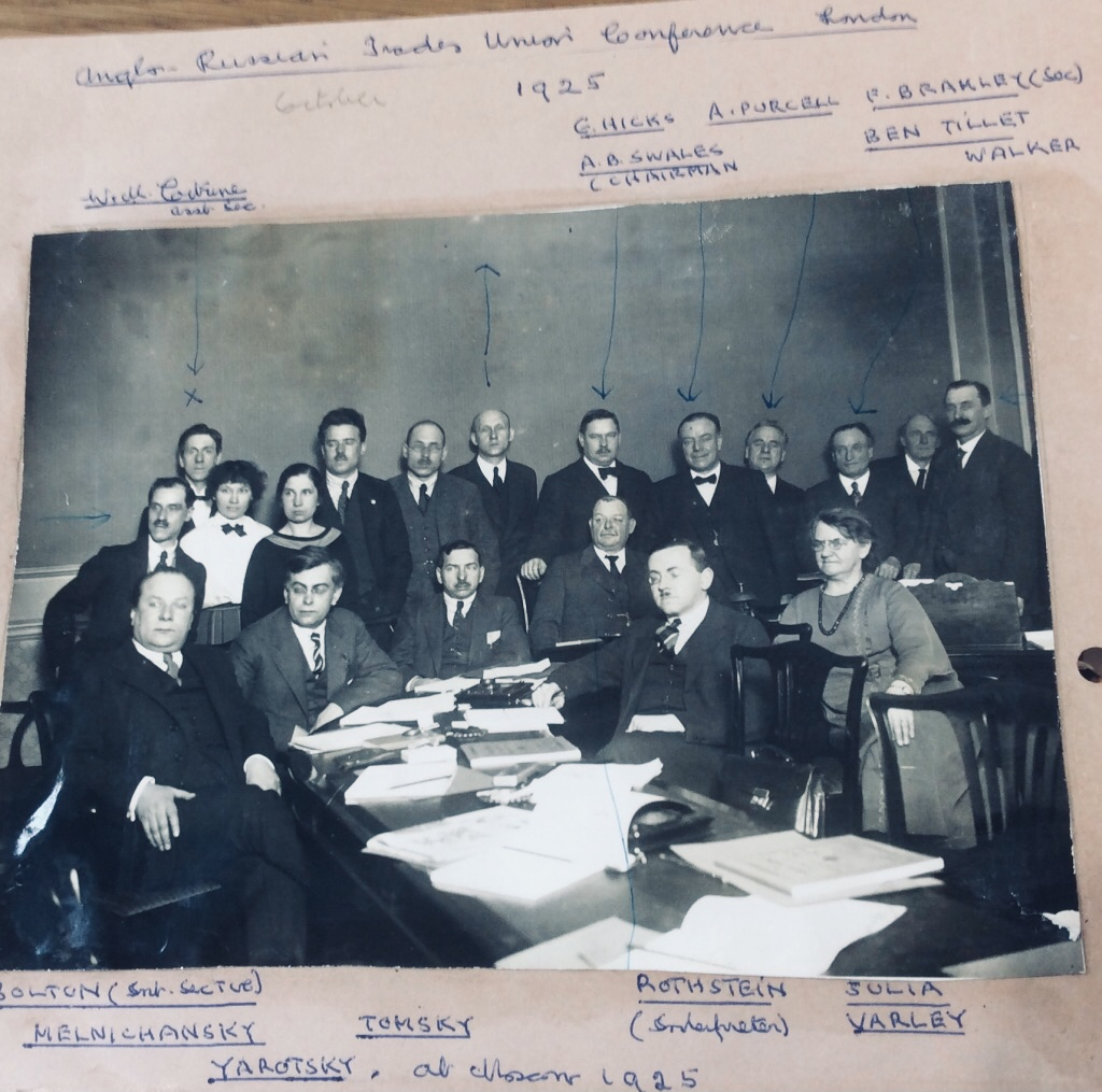 Black and white photo of conference delegates, including those named in the caption.