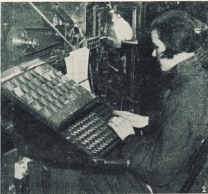 A woman using what appears to be a Linotype typesetting machine.