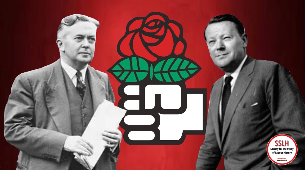 Harold Wilson and Jens Otto Krag pictured either side of the Socialist International logo of a hand holding a red rose.