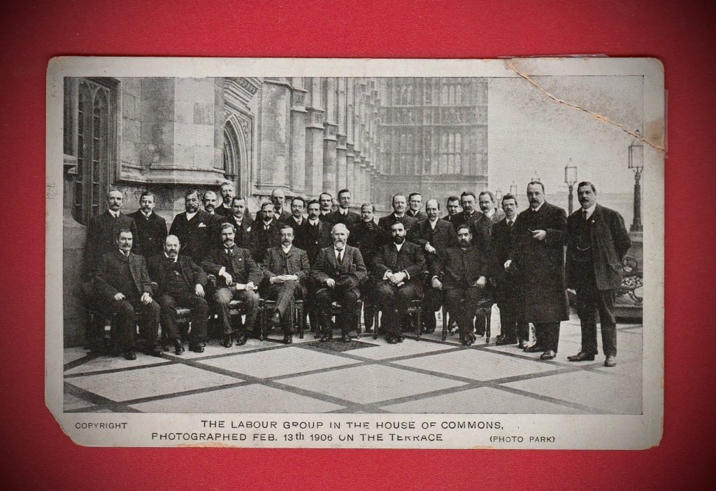 Postcard showing the Labour Group in the House of Commons 1906