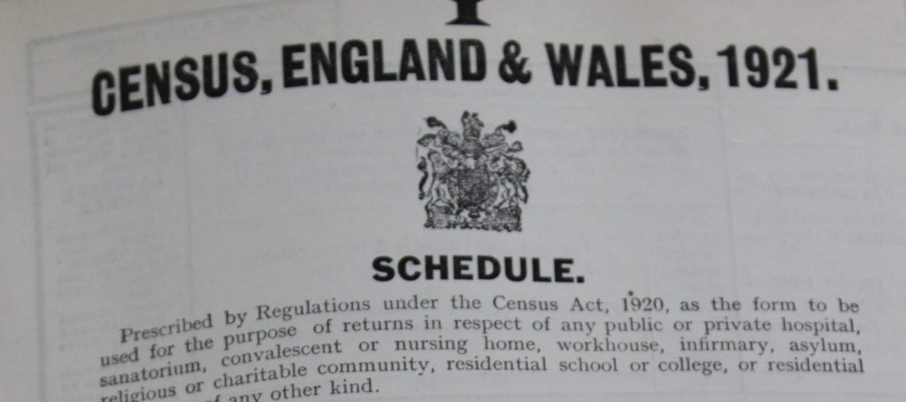 Screenshot of census front cover showing the words 'Census, England & Wales, 1921'
