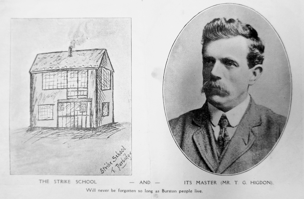 Drawing of the strike school and photograph of Tom Higdon.